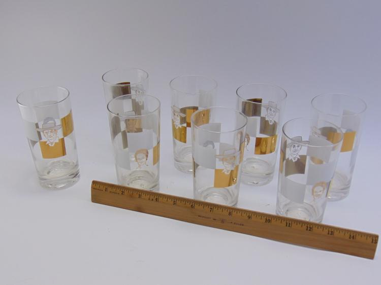 Lot 156: Set of 8 Mid Century Roy Rogers Drinking Glasses