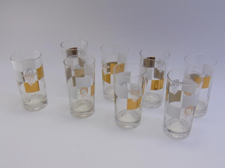 Set of 8 Mid Century Roy Rogers Drinking Glasses