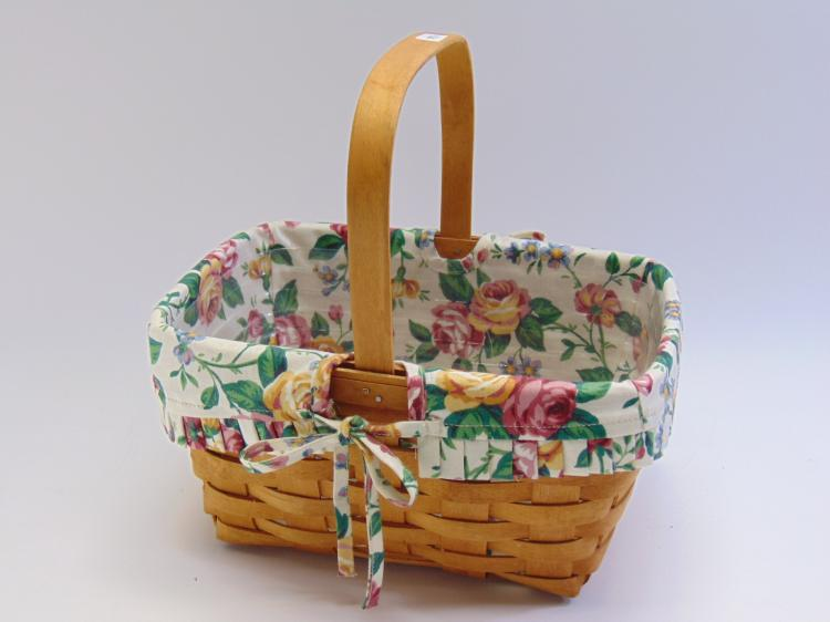 Lot 160: Hand Woven Longaberger Collectible Basket with Handle and Protector