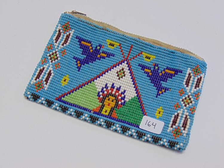 Vintage Native American Leather Stitched Seed Bead Clutch Purse