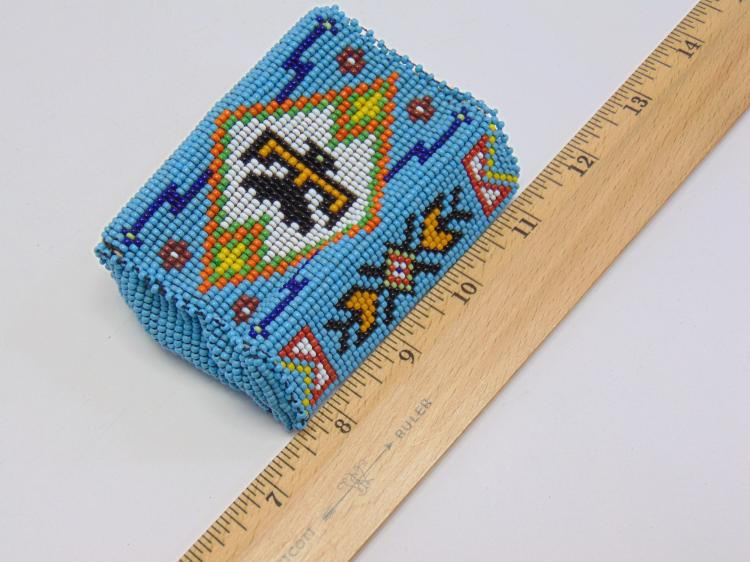 Lot 165: Vintage Native American Stitched Seed Bead Cigarette Pack Holder