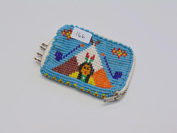 Vintage Native American Stitched Leather Seed Bead Key Holder Wallet