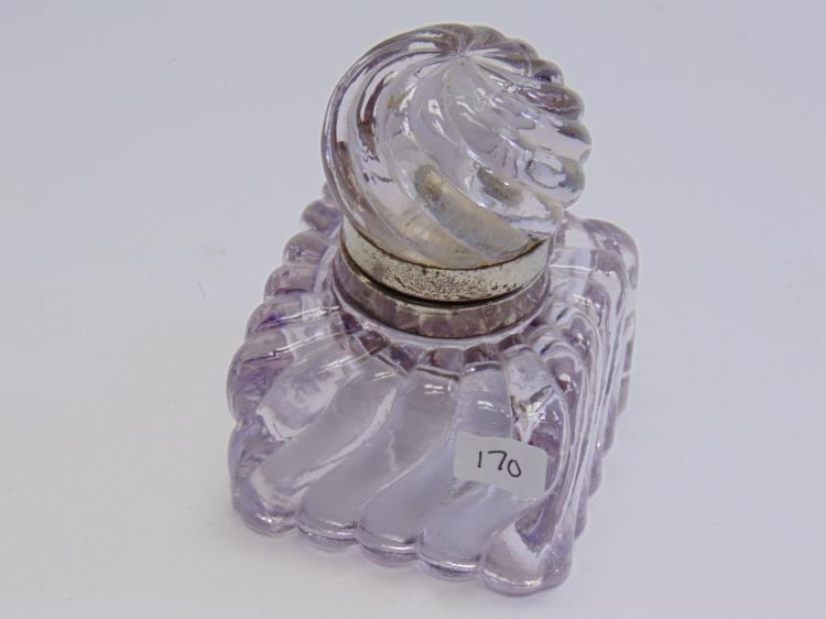 Antique Glass and Silverplate Lidded Ink Well