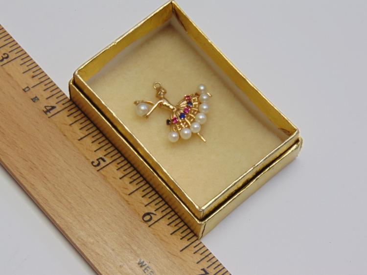 2.7 Gram 14K Yellow Gold Pearl Ruby & Blue Sapphire Balerina Pendant