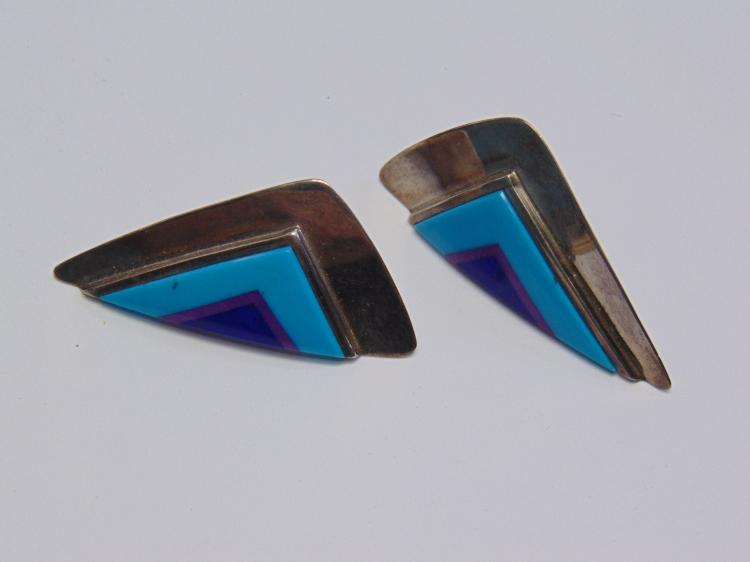 Lot 172: 14.5 Gram Vintage Sterling Silver Turquoise Sugalite & Lapis Inlaid Earrings w/o Backs Signed SB