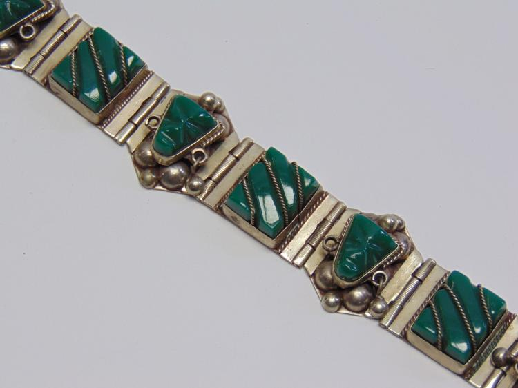 Lot 173: Nickel Silver and Green Stone Onyx Mexcian Made Bracelet