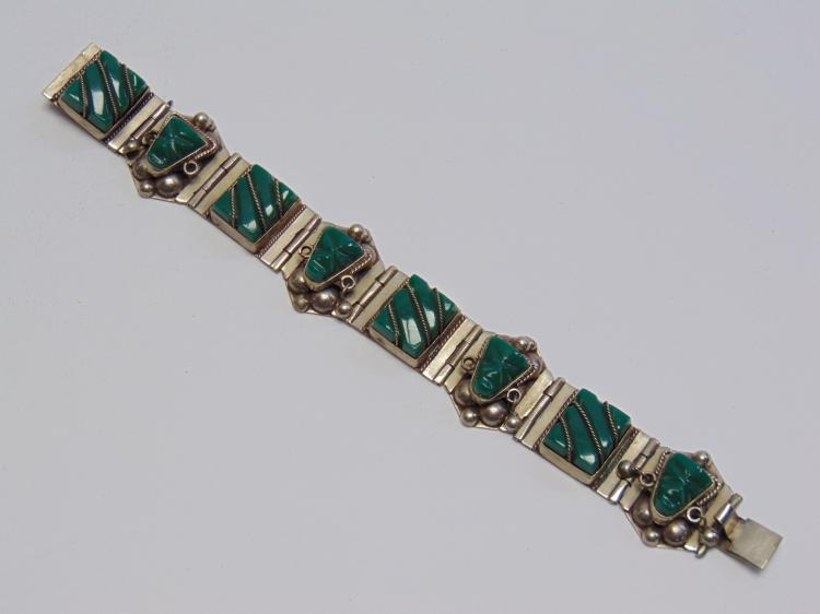 Nickel Silver and Green Stone Onyx Mexcian Made Bracelet
