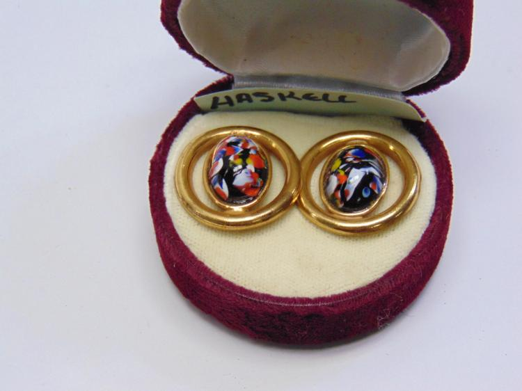 Vintage Miriam Haskell Clip On Earrings