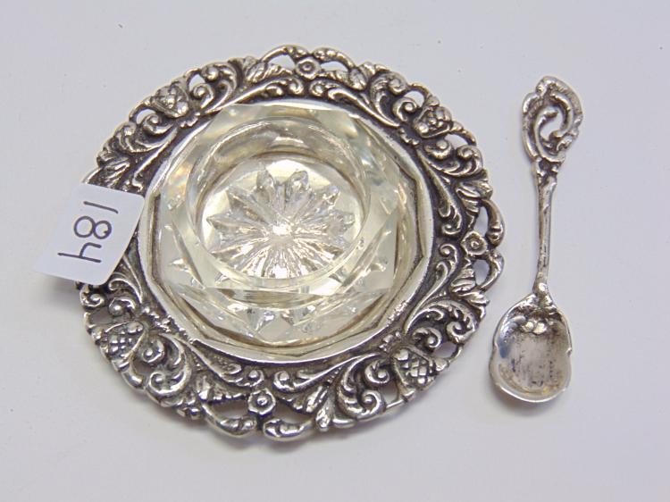 39.4 Gram 800 Silver Tray Spoon and Cut Glass Salt Cellar