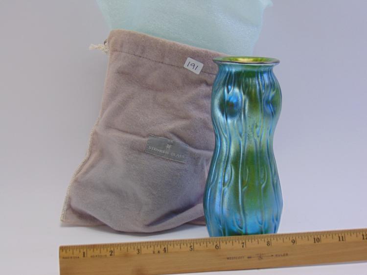 Lot 191: Steuben Art Glass Aurene Iridescent Vase in Bag