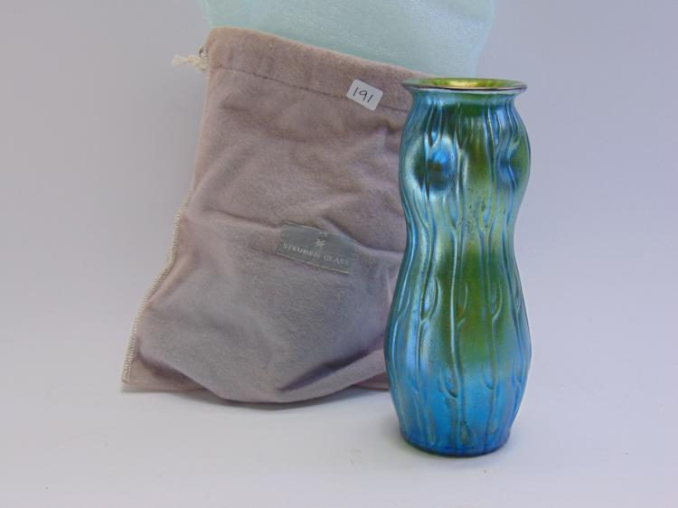 Steuben Art Glass Aurene Iridescent Vase in Bag