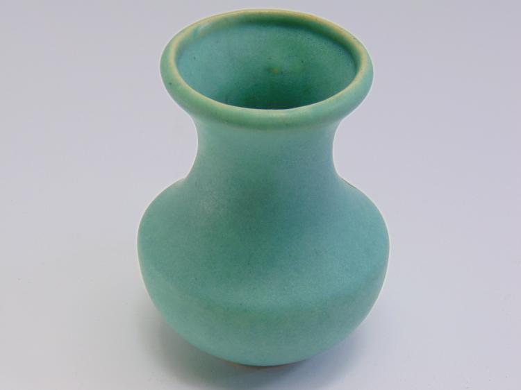 Selden Bylie? 1920s Matte Green Pottery Vase