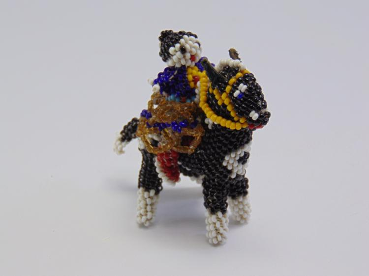 Vintage Native American Riding Horse Sead Bead Figure