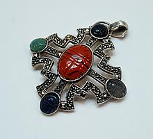 Large Sterling Multistone Marcasite Cross Pendant