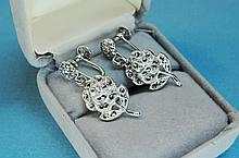 Vintage KD Sterling & Marcasite Flower Earrings