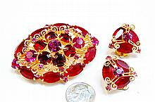 Vintage Pink Rhinestone Costume Brooch & Earrings