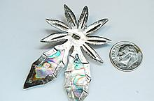 Vintage Taxco Sterling Abalone Flower Brooch