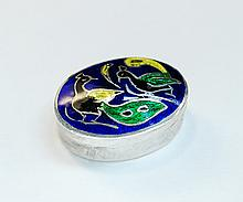 Vintage Sterling & Enameled Bird Motif Pill Box