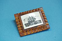 Vintage Wood & Ivory Scrimshaw Ship Brooch