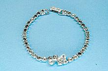 Vintage Garne Rhinestone Costume Jewelry Bracelet