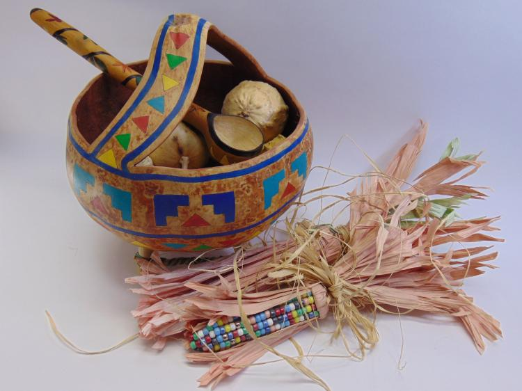Native American Gourd Art Basket With Beaded Corn Cobs, And Gourd Ladle