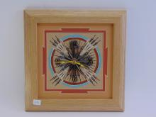 Lot 15: Alvina Begay Framed Sand Painting Clock