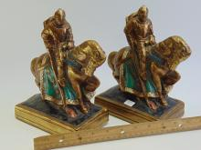 Lot 16: 2 Jousting Medieval Knight Statuette Bookends
