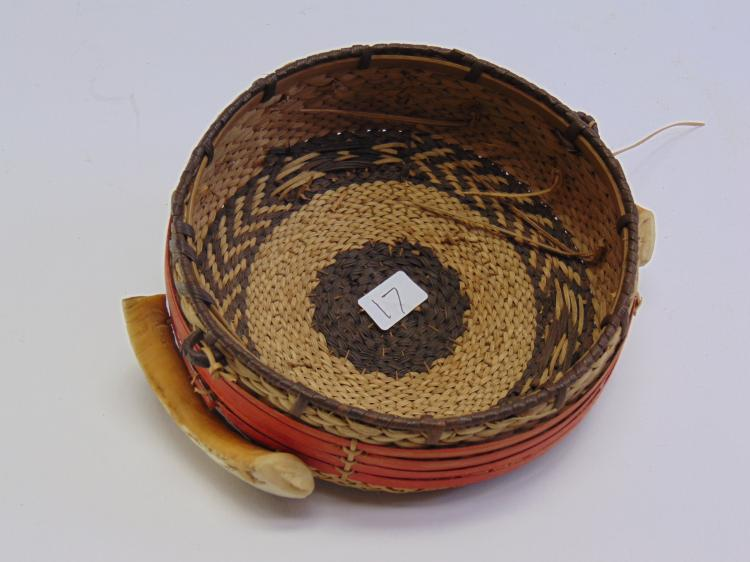 Native American Grass Woven Basket with Ivory Boar Tusks