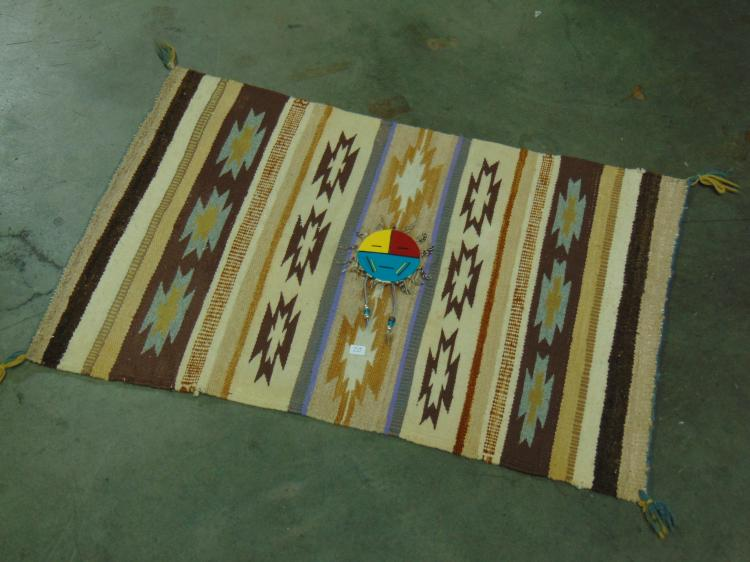 Native American Wool Rug With Zuni Sun Face Medallion