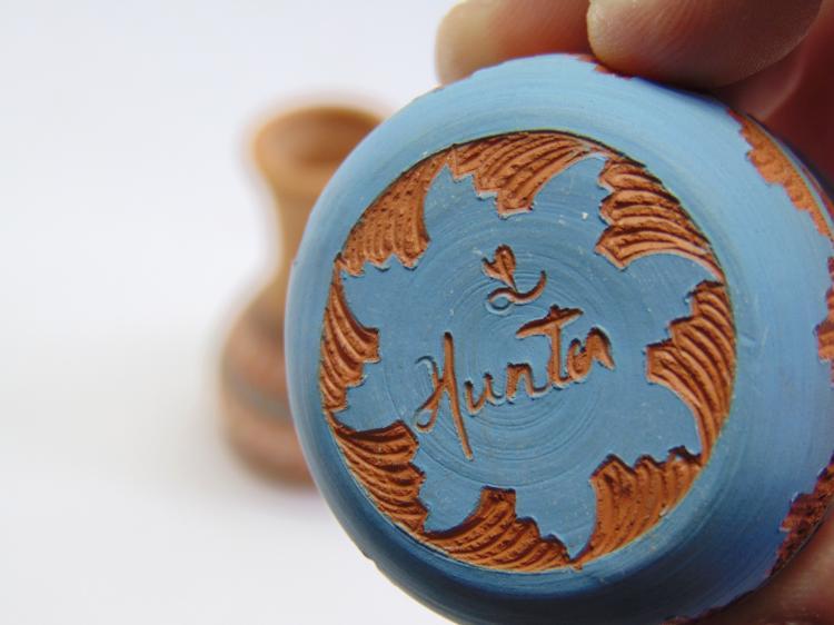 Lot 24: 2 Miniature Signed Native American Clay Pots