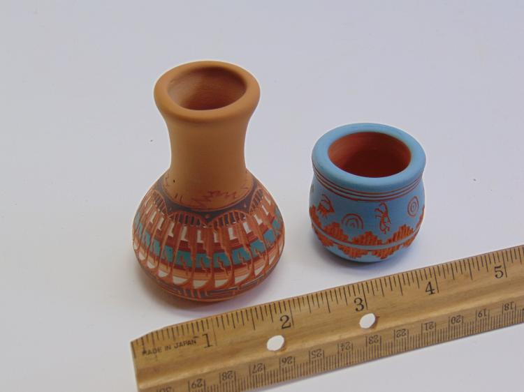 2 Miniature Signed Native American Clay Pots