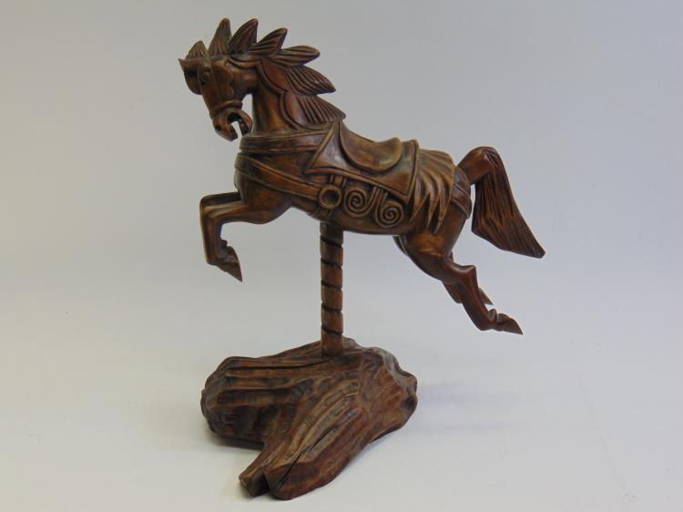 Hand Carved Carousel Horse on Stand