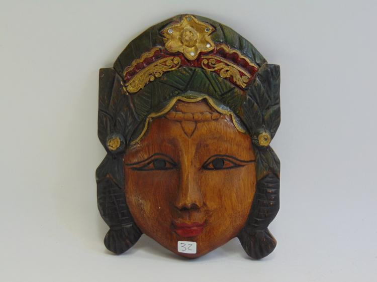 Hand Carved Wood Tribal Mask wall Hanging