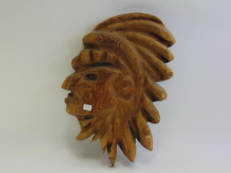 Hand Carved Wood Tribal Chief Wall Hanging