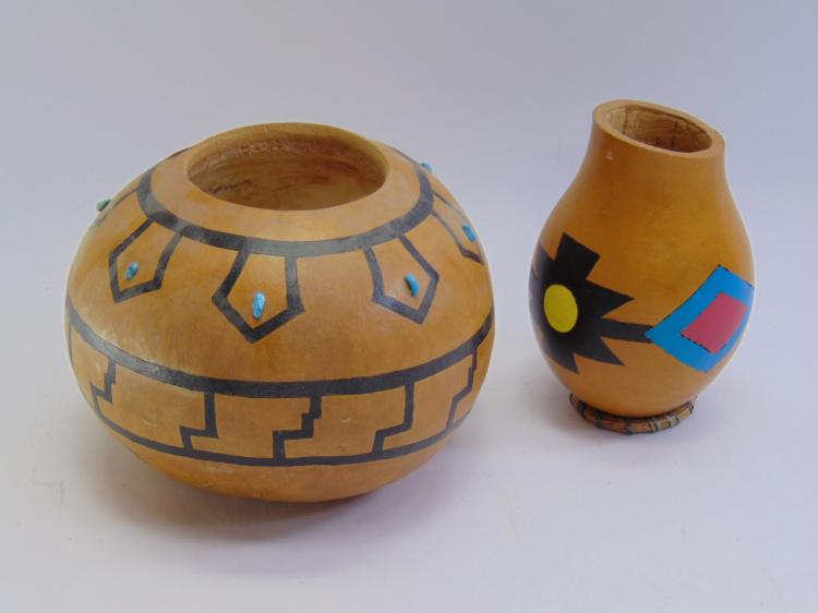 2 Hand Carved / Painted Native American Gourds,