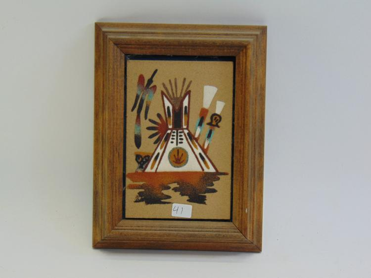 Framed Native American Sand Painting
