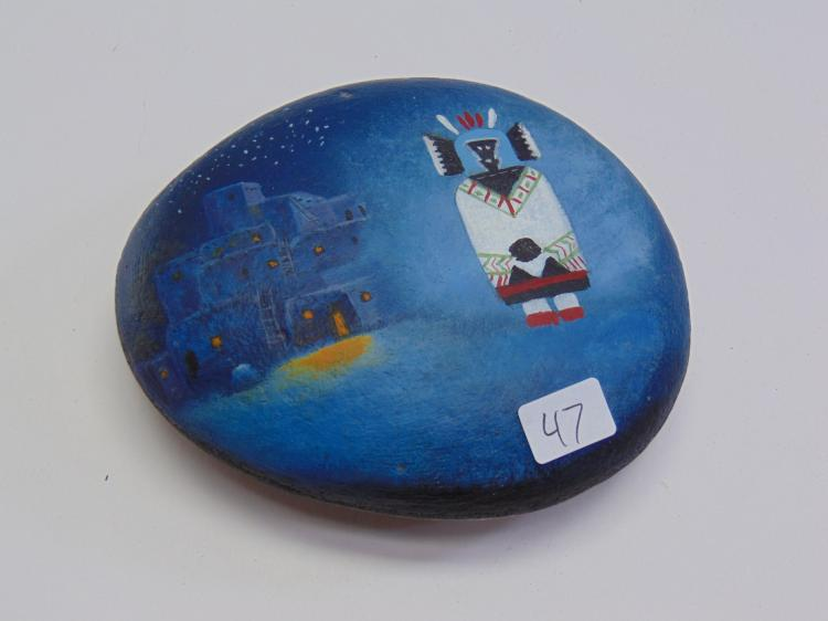 Native American Kachina Painting on Rock w/ Adobe House