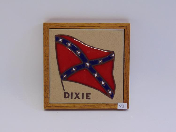 Dixie, Confederate Flag Framed Tile Made By Fiesta Tiles