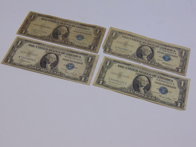 Lot of 4 US $1 Silver Certificates