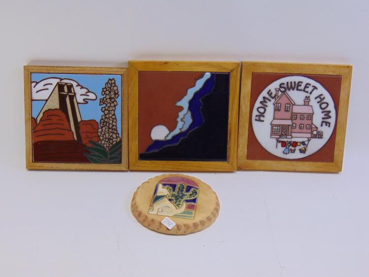 4 Native American Wall Hanging Tiles