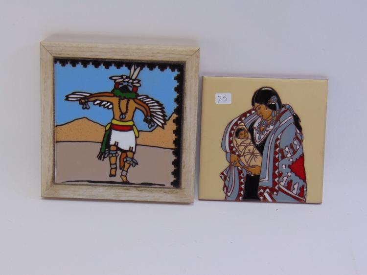 2 Native American Wall Hanging Tiles