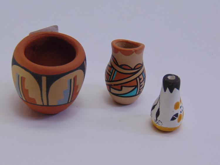 3 Miniature Signed Native American Clay Pots