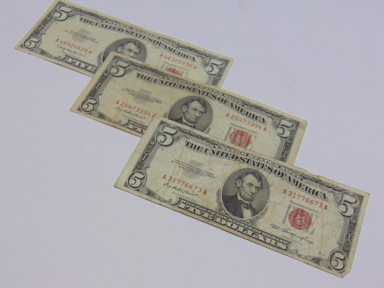 Lot of 3 $5 Red Seal Bills 1963 & 1953
