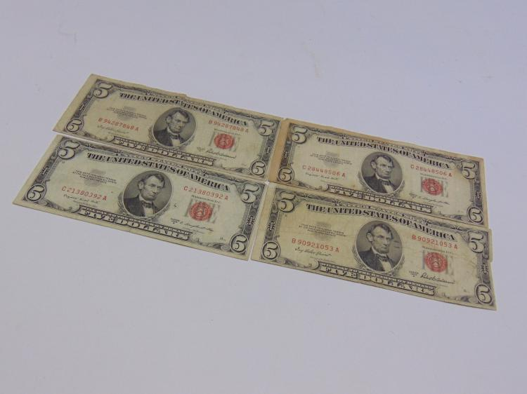 Lot of 4 1953 Red Seal $5 Bills
