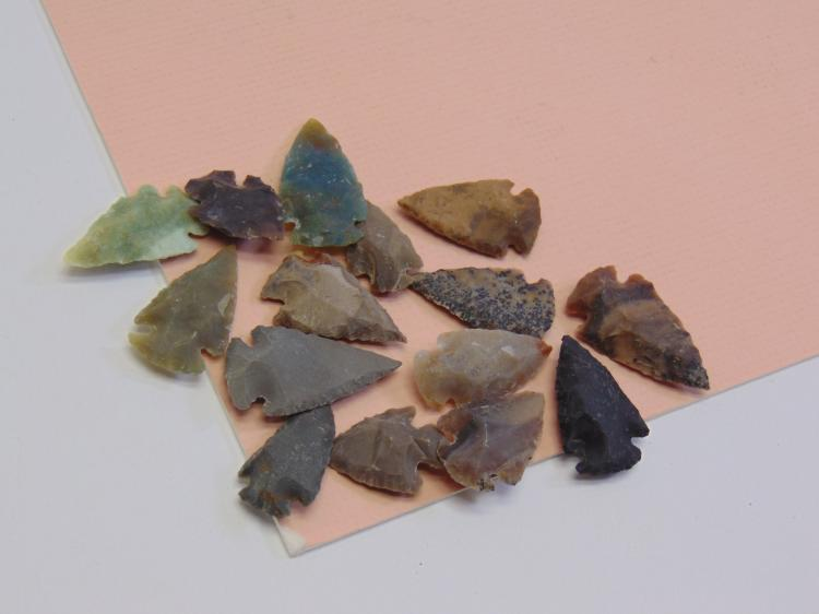 Lot of 15 Various Stone Arrowheads