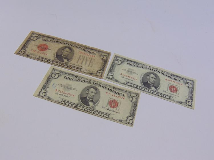Lot of 3 $5 Red Seal Bills 1928C, 1963 & 1953A