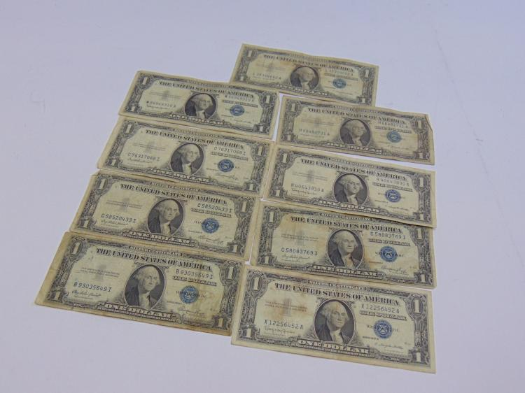Lot of 9 US $1 Silver Certificates