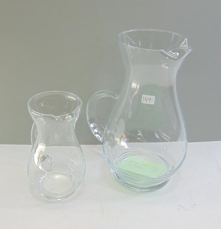 Princess House Heritage Pitcher Lot of 2 Handblown Handcut Crystal