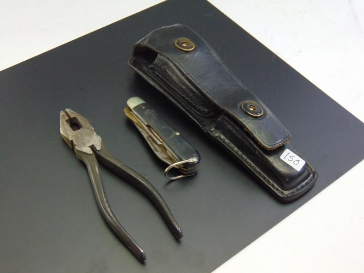 Vintage Electricians Pocket Knife & Wire Cutters in Leather Belt Holster