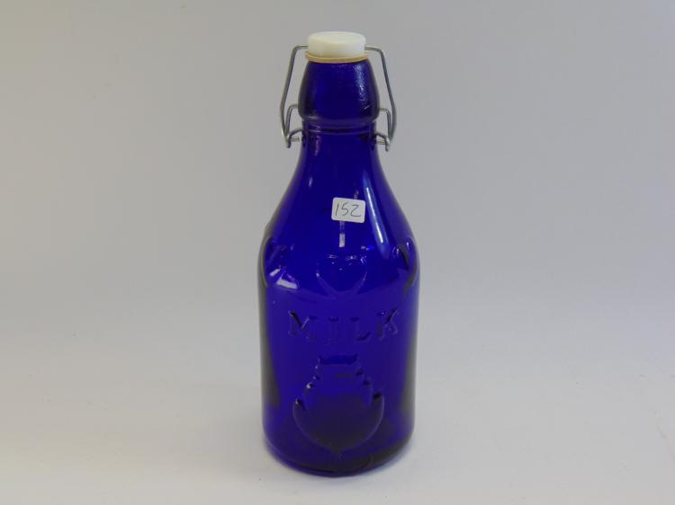 Crownford Made in Italy Cobalt Blue Glass Lidded Milk Jug